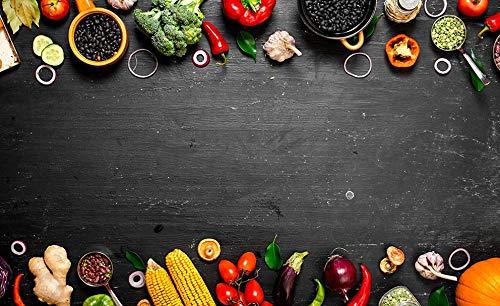 Fondo de fotografía de Comida Grunge Pared Verduras Cocina Carne Accesorios Fondos de Comida decoración Tablero de Madera Estudio A7 9x6ft / 2,7x1,8 m