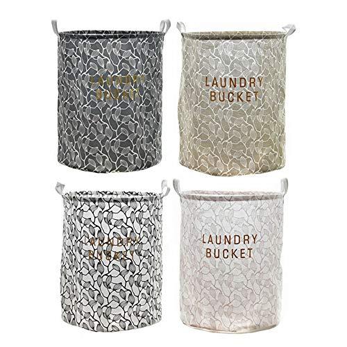 JOMSK Cesta de lavandería Grande para Dormitorio Cuatro Piezas de Tela Impermeable de Almacenamiento Cubo Plegable del hogar Cesta de lavadero Misceláneas Clasificación Cesta