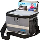 Bike Handlebar Bag, Waterproof Bike Storage Bag Cold and Warm Insulation, Bike Pouch, Handlebar Bag for Bicycles and Reflective Stripe, 2 Mesh Pockets, Shoulder Strap and Windproof Cycling Scarf
