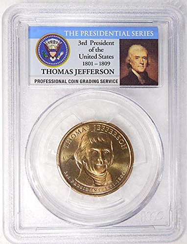 2007 D Pos. A Thomas Jefferson Presidential Dollar PCGS MS 65 FDI Presidential Label Holder