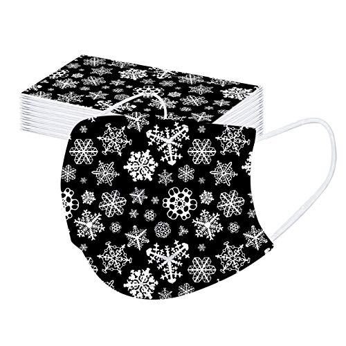 SicongHT 30 stück Einmal-Mundschutz Weihnachtsmotiv Erwachsene Einweg 3 Lagig Mund Und Nasenschutz Atmungsaktive Staubschutz Bandana Multifunktional Weihnachts Loop Halstuch(30 Stück,B)