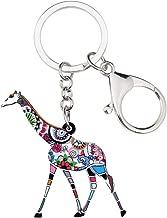 RVXZV Acrylic Floral Giraffe Keychains Rings Jungle Animal Jewelry For Women Girls Wallet Car Handbag Charms