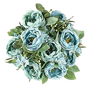 Veryhome Silk Peony Artificial Flowers Fake Rose Bouquet Camellia Floral Arrangement for Wedding Home Decoration, Pack of 2