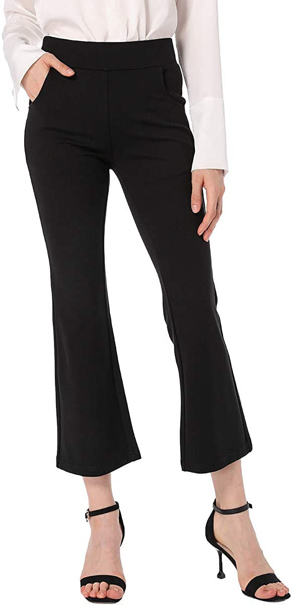 Ginasy Womens Flare Dress Pants Business Casual Crop Work Capris Stretch High Waisted Elastic Pull On Office Clothes