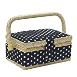 D&D Sewing Basket with Sewing Kit Accessories, Small Sewing Box for Kids, Black & White