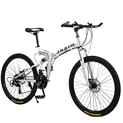 Mountain Bike Pieghevole (21 velocità, 24 Pollici, 26 Pollici, Bianca, Nera, Rossa, Verde e Blu), Bicicletta a velocità variabile per Studenti Adulti, Doppio Freno a Disco, Bicicletta