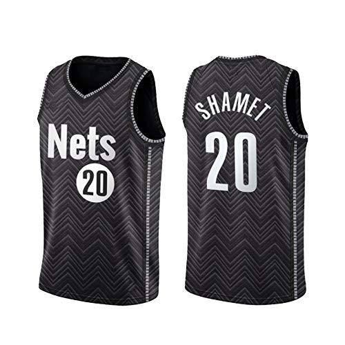 Lāndry shamet 20# Jersey para los Hombres, 2021 Nueva Temporada Brōōklyn Nets Black Youth Soul Swing Ballball Jerseys, Tela Transpirable y de Secado rápido L