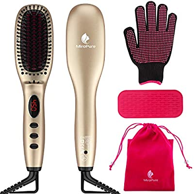 Hair Straightener Brush with Ionic Generator by MiroPure, 30s Fast MCH Ceramic Even Heating, 11 Temperature Control, Professional for Straightening or Curling