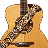 Amumuオレンジヴィンテージ刺繍入りギターストラップコットン用アコースティック、エレクトリック、ベースギター用ストラップブロック&ヘッドストックストラップネクタイ - 5 cm幅