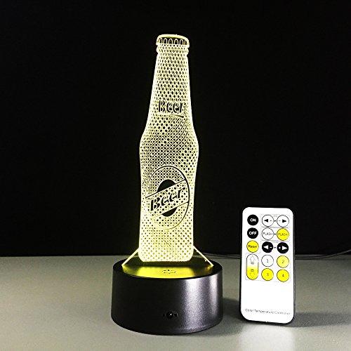 Botella de Cerveza Control Remoto Noche luz Color ilusión Cambio lámpara de Mesa bebé sueño Sensor luz Goteo Transporte