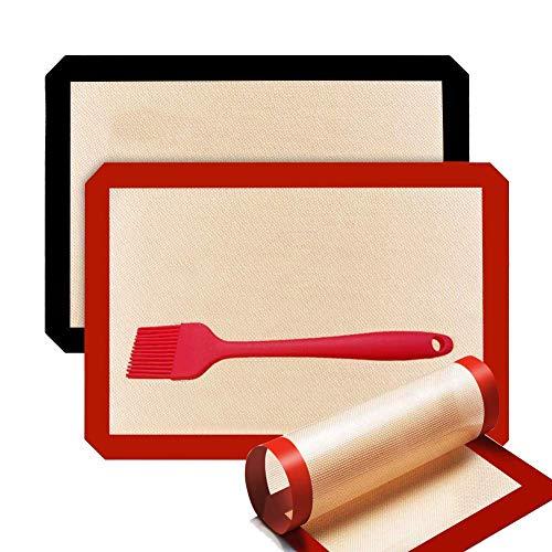 3 Piezas Tapete de Silicona para Hornear, Tapete de Cocción Lámina de Horno de Silicona Antiadherente, Reutilizables Antideslizantes Lavable Sin BPA Silicona Estera, 42 x 29,5cm y 30 x 21cm (3 Piezas)