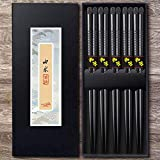 Omia 5 Pairs Premium Reusable Chopsticks Set - Natural Wood Japanese Chopsticks, Lightweight Easy to...