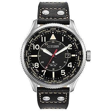 Citizen Men's Promaster Nighthawk Stainless Steel Quartz Watch with Leather Calfskin Strap, Black, 22 (Model: BX1010-02E)