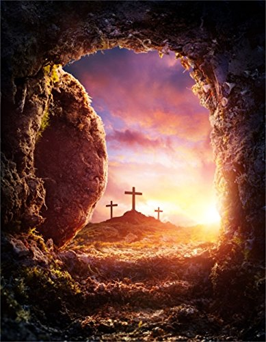 AOFOTO 8x10ft Crucifixion Resurrection of Jesus Christ Backdrop Salvation Cross Photography Background Tomb Cave Sunrise Glimmers of Hope Photo Studio Props Bible Pray Christian Church Play Wallpaper