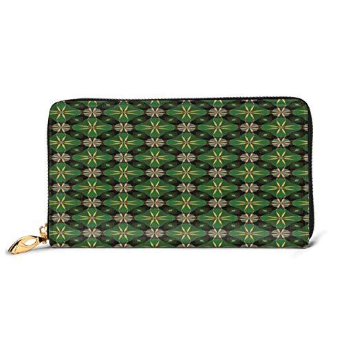 YATTYUG Women's Long Leather Card Holder Purse Zipper Buckle Elegant Clutch Wallet, Kaleidoscopic Motifs Mosaic Pattern Antique Geometric And Floral Art Composition,Sleek and Slim Travel Purse