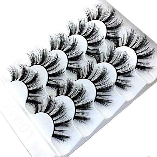 KADIS 5 Pairs Eyelashes 3D False Lashes Thick Crisscross Makeup Eyelash Extension Natural Volume Soft Fake Eye Lashes,6D-027
