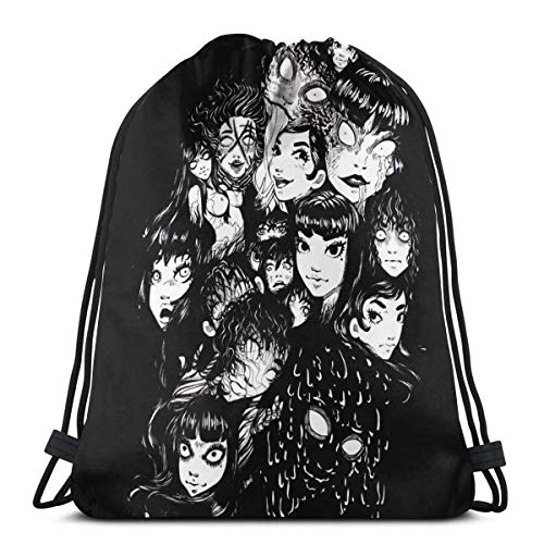 354 Drawstring Bags Terror Junji Ito Tomie Collage Women Durable Print Travel Lightweight Student Casual Drawstring Bag Sport Storage Goodie Gym Gift Backpack Cinch Bags Men Christmas