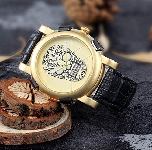 MJY Reloj de moda, reloj para hombres, reloj con dial, correa de pu casual, diamante de agua, hombres británicos, reloj para marido, novio, regalo,dorado,UNA