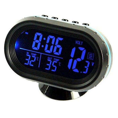 relangce Auto Uhr Thermometer Voltmeter Multifunktion, KFZ Spannungs Anzeige, Temperatur Messgerät, Zigarettenanzünder Batterie Tester, LED Digital Leuchtende Uhr, Hintergrundbeleuchtung 12V (blau)