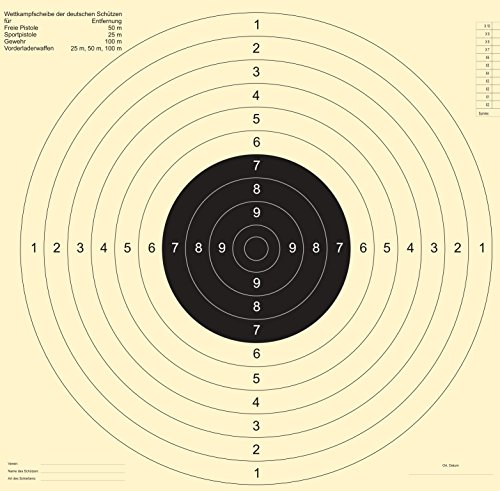 Druckteam Schleede & Partner Schießscheiben Sportpistole Präzision (50 Stück OHNE Einsteckschlitz)