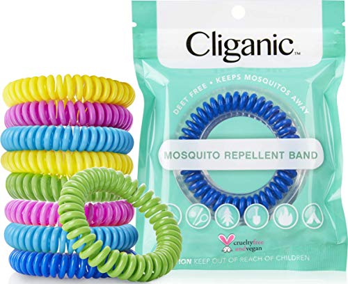 Cliganic Natural Mosquito Repellent Bracelet Water-Proof, Bug and Insect Protection, Deet-Free Band, Pest Control for Kids and Adults, 10 Piece