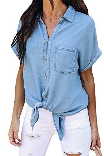 Pxmoda Damen Jeanshemd Kurzarm Jeansbluse Bluse (Hellblau, Small)