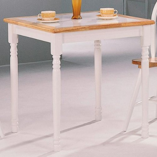 Damen Square Tile Top Casual Dining Table Natural Brown and White & Tile Top Dining Table: Amazon.com