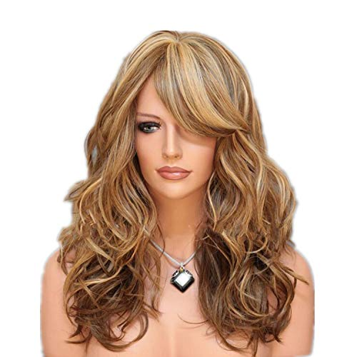 QNN Peluca de Gran Onda Peinado Esponjoso Color Degradado Falso Cultivar Europeo Y Americano. Simulación/dorado