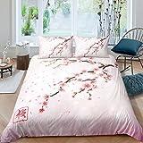 Juego de ropa de cama con diseño de flores de cerezo, estilo japonés, romántico, tema rosa, juego de funda de edredón con estampado de flores, para mujeres y niñas, 155 x 220 cm