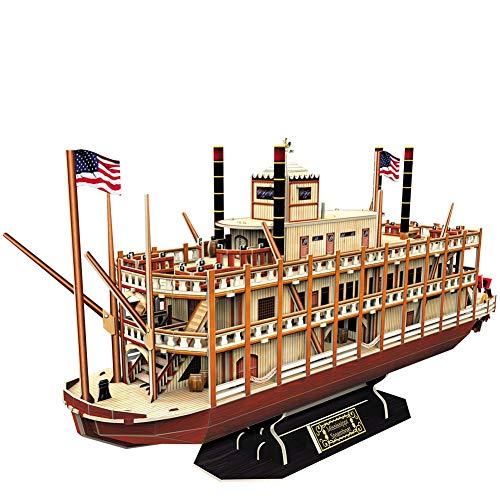 SKAJOWID Kit De Barco Y Barco Modelo 3D, Rompecabezas De Barcos De Vapor Mississippi, Decoración De Modelo De Barco De EE, Adecuado para Colección Collection (142 Piezas)