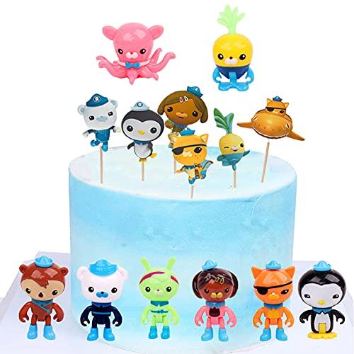 Octonauts Adornos para Tartas,32 Piezas Octonauts Mini Juego de Figuras Decoración Caricatura Cake Topper Juguetes Baby Shower Fiesta de cumpleaños Pastel Decoración Suministros