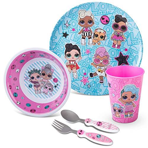 Franco Conjunto de cozinha para jantar com desenho animado para crianças, pacote com 5 peças, LOL Surprise