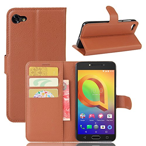 Tasche für Alcatel A5 Led (5.2 zoll) Hülle, Ycloud PU Ledertasche Flip Cover Wallet Hülle Handyhülle mit Stand Function Credit Card Slots Bookstyle Purse Design braun