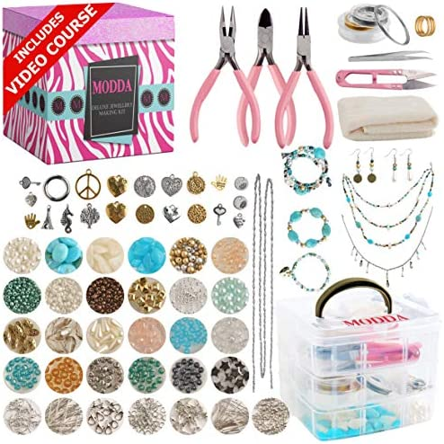 Modda Deluxe Jewelry Making Kit Jewelry Making Supplies Includes Instructions Beads Necklace product image