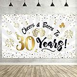 30. Geburtstag Party Dekorationen, Große Schwarz und Gold Zeichen 30. Geburtstag Hintergrund Banner Foto Stand Hintergrund für 30. Geburtstag Party Lieferungen