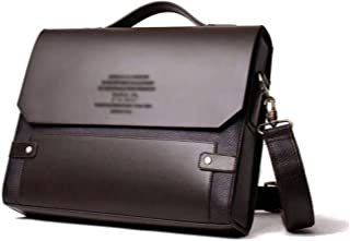 (Black) - Wewod Men's Retro Classical Business Briefcase Flapover Lightweight Handbag Shoulder Bags High Quality Lawyer Handbag PU Leather Laptop Satchel Bag with TSA Lock