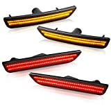 NDRUSH Front Amber LED Side Marker Lights Rear Red Bumper Sidemarker Lamps Reflectors Compatible with 2010-2014 Ford Mustang - Pack of 4