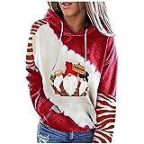 Berimaterry ropa mujer de Navidad sudaderas mujer con capucha de primavera chándal otoño de mujer blusa moda con estampado de Christmas Delgada Jerséis originales jersey camisetas de manga larga
