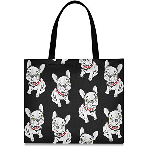 visesunny Women's Large Canvas Tote Shoulder Bag French Bulldog Animal Top Storage Handle Shopping Bag Casual Reusable Tote Bag for Beach,Travel,Groceries,Books