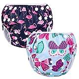 Luxja Couches de Bain, Bébé Maillot de Bain 2PCS, Lavable, Réutilisable, Ajustable, Pour les enfants de 0-3 ans, Papillon + Flamingo