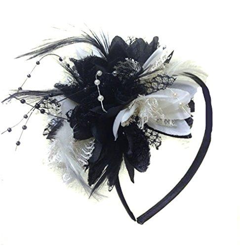 Caprilite Schwarz und Weiß, Kopfband, Federn