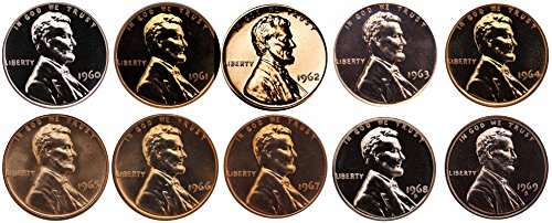 1960-1969 S Lincoln Memorial Cent Gem Proof & SMS Run 10...