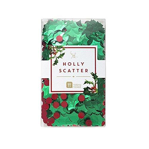 Talking Tables rot und grün Konfetti mit Mäusedorn, perfekt für Weihnachten