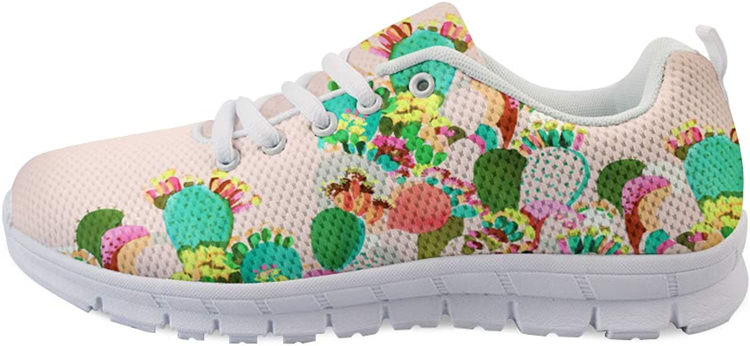 Owaheson Lace-up Sneaker Training shoes Mens Womens colorful Cacti Cactus Flower