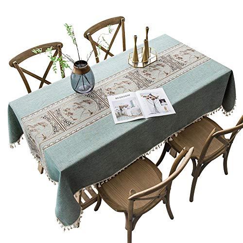 Oukeep Mantel Impermeable De Lino Y Algodón Mantel Estampado con Flecos Estera De Mesa Adecuado para Café, Oficina, Sala De Estar, Hotel, Jardín