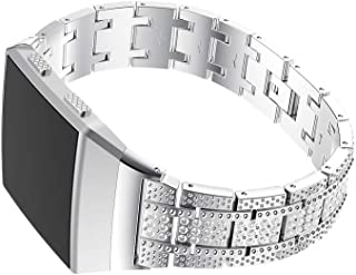 Luxury Stainless Steel Smartwatch Band Adjustable Rhinestone Bracelet Replacement Wristband Watch Strap for Fitbit Ionic (Silver)