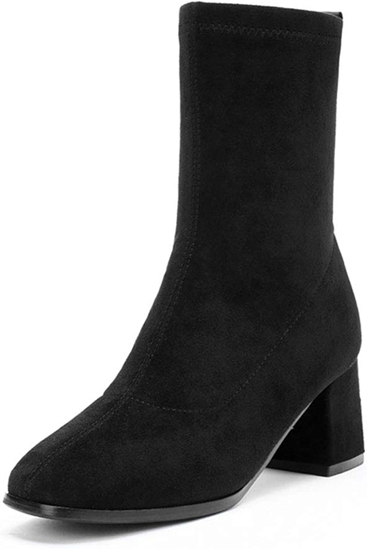Damenschuhe HWF Damen High-Top-Schuhe Heels Wintermode, weibliche Wanderschuhe Freizeit, Absatzhhe 6cm (Farbe   SCHWARZ, gre   37)