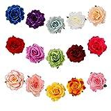 Barrette Fleur Rose Fleur Clip Pince à Cheveux Femmes Barrette Fleur Pin Up Brochepour la Plage la Fête le Mariage 15 Pièces