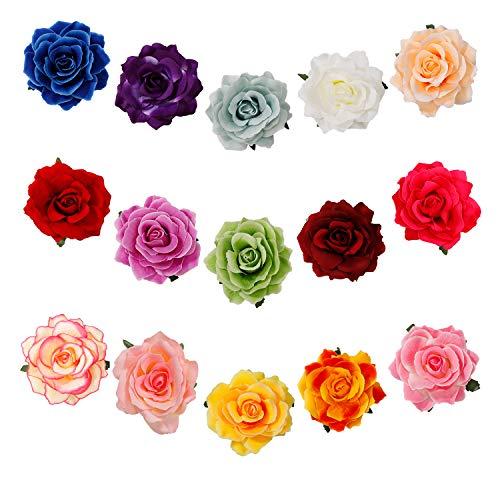 Blumen Haarspangen Rose Haarclip Blume Mehrfarbig Haarklammer Braut Hochzeit Haarschmuck Haarnadeln für Kinder Frau Mädchen Tanz 15 Stück