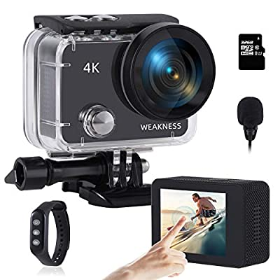 WEAKNESS Action Camera, 4K 24MP WiFi Underwater 131ft Waterproof Camera + 32GB Micro SD Card, Touch Screen External Microphone Sport Camera with Remote Control and 2X 1350mAh Batteries from WEAKNESS